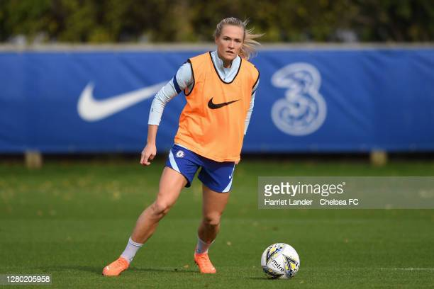 Magdalena Eriksson of Chelsea in action during a Chelsea FC Women's Training Session at Chelsea Training Ground on October 14 2020 in Cobham England
