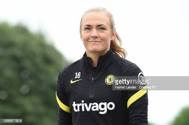 Magdalena Eriksson of Chelsea looks on during a Chelsea FC Women's Training Session at Chelsea Training Ground on August 23, 2021 in Cobham, England.