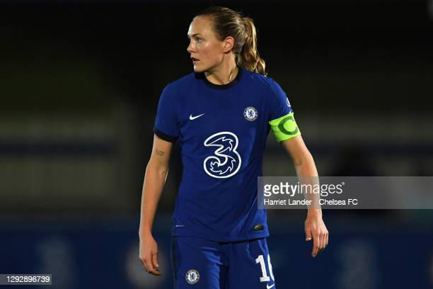 Magdalena Eriksson of Chelsea looks on during the UEFA Women's Champions League round of 32 second leg match between FC Chelsea Women and SL Benfica...