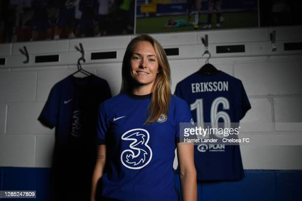 Magdalena Eriksson of Chelsea poses for a photo as she signs a new contract with Chelsea FC Women at Kingsmeadow on November 12, 2020 in Kingston...
