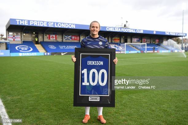 Magdalena Eriksson of Chelsea poses for a photo with a commemorative shirt marking her 100 appearances for the club prior to the Barclays FA Women's...