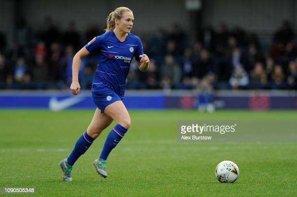 Magdalena Eriksson of Chelsea runs with the ball during the FA Women's Super League match between Chelsea Women and Everton Ladies at The Cherry Red...