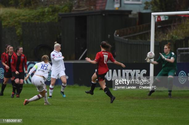 Magdalena Eriksson of Chelsea scores her team's second goal during the FA Women's Continental League Cup Group D match between Lewes FC Women and...