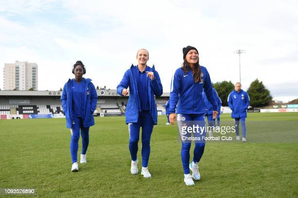 Magdalena Eriksson of Chelsea speaks with Ali Riley of Chelsea during a pitch inspection prior to the FA WSL match between Arsenal and Chelsea at...