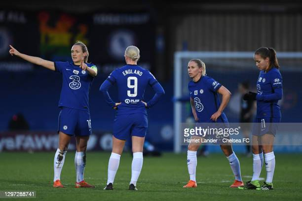 Magdalena Eriksson of Chelsea speaks with Bethany England, Jonna Andersson, and Guro Reiten of Chelsea during the Barclays FA Women's Super League...