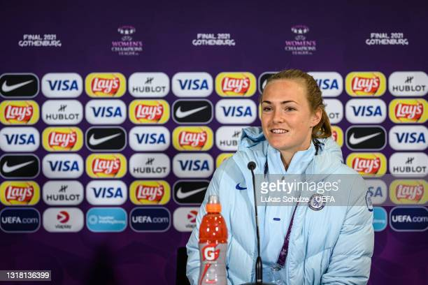 Magdalena Eriksson of Chelsea talks during the press conference ahead of the UEFA Women's Champions League Final match between Chelsea FC and...