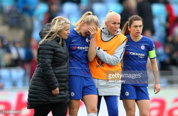 Magdalena Eriksson of Chelsea Women is consoled by Emma Hayes the manager of Chelsea Women after scoring an own goal to hand victory to Manchester...