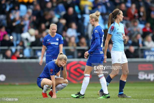 Magdalena Eriksson of Chelsea Women looks dejected after the Women's FA Cup Semi Final match between Manchester City Women and Chelsea Ladies at The...