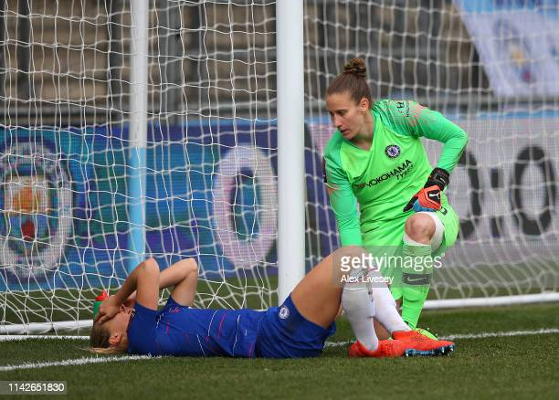 Magdalena Eriksson of Chelsea Women looks distraught after scoring an own goal to hand victory to Manchester City Women as AnnKatrin Berger looks on...