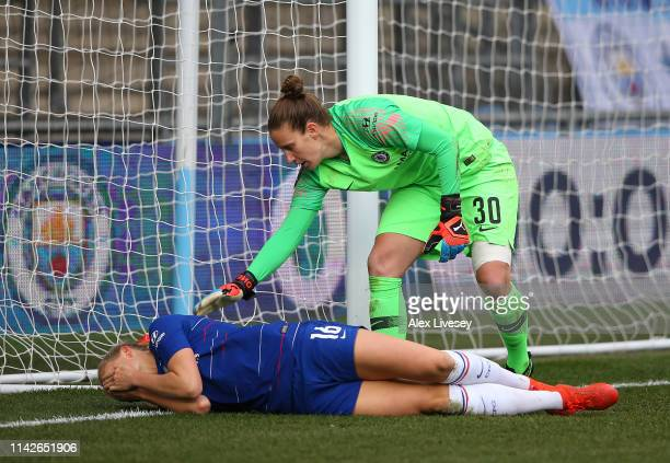 Magdalena Eriksson of Chelsea Women looks distraught after scoring an own goal to hand victory to Manchester City Women as AnnKatrin Berger attempts...