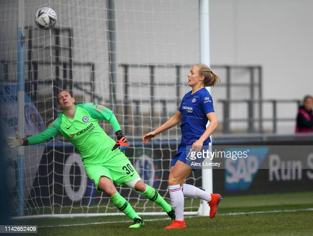 Magdalena Eriksson of Chelsea Women scores an own goal past AnnKatrin Berger to hand victory to Manchester City Women during the Women's FA Cup Semi...