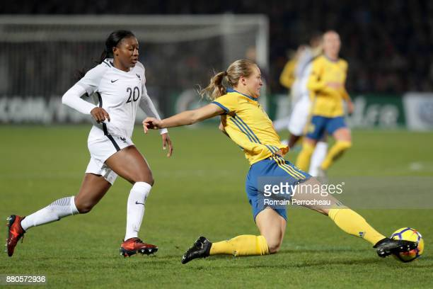 Magdalena Eriksson of Sweden and Kadidiatou Diani of France in action during a Women's International Friendly match between France and Sweden at...