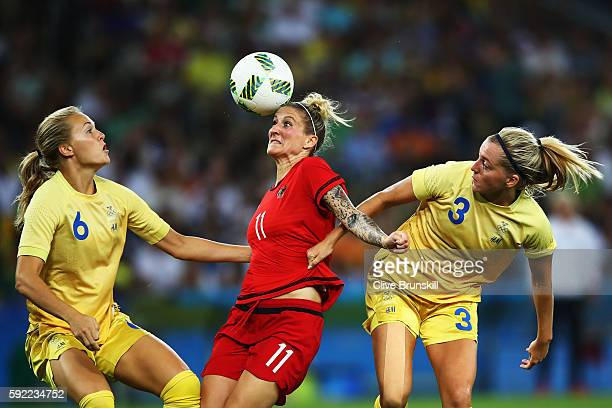 Magdalena Eriksson of Sweden, Anja Mittag of Germany and Linda Sembrant of Sweden challenge for the ball during the Women's Olympic Gold Medal match...
