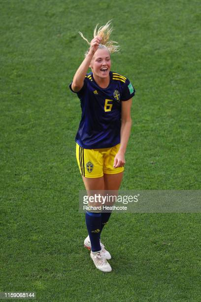 Magdalena Eriksson of Sweden celebrates victory after the 2019 FIFA Women's World Cup France Quarter Final match between Germany and Sweden at...