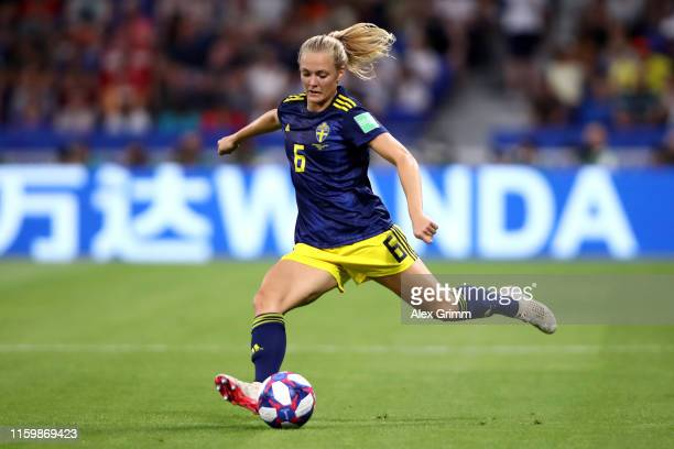 Magdalena Eriksson of Sweden passes the ball during the 2019 FIFA Women's World Cup France Semi Final match between Netherlands and Sweden at Stade...