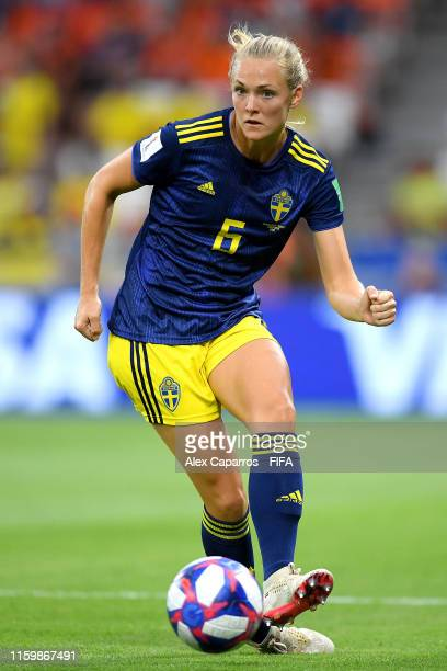 Magdalena Eriksson of Sweden runs with the ball during the 2019 FIFA Women's World Cup France Semi Final match between Netherlands and Sweden at...