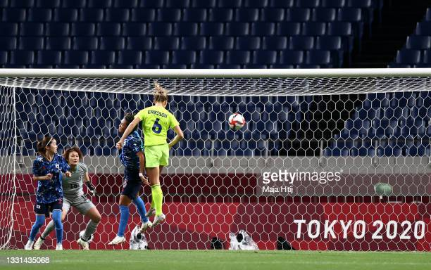 Magdalena Eriksson of Team Sweden scores their side's first goal during the Women's Quarter Final match between Sweden and Japan on day seven of the...