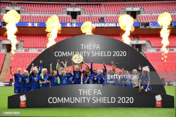 Magdalena Erkisson of Chelsea lifts the Community Shield Trophy following her team's victory in during the Women's FA Community Shield Final at...