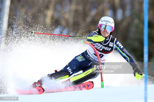 Magdalena Fjaellstoem from Sweden competes during the first run of the women's FIS Ski World Cup slalom at Sljeme mountain, near Zagreb, on January...