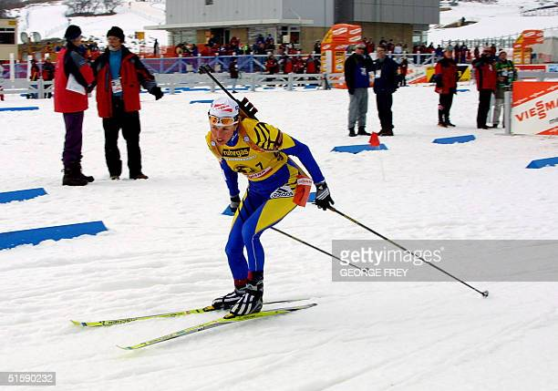 Magdalena Forsberg from Sweden races out of the shooting area at the Ruhrgas World Cup Women's Biathlon at Soldier Hollow outside of Midway Utah...