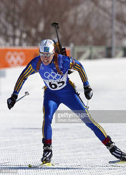 Magdalena Forsberg of Sweden skates through the course during the Womens 15 km Individual Biathlon 11 February 2002 at Soldier Hollow Utah during the...