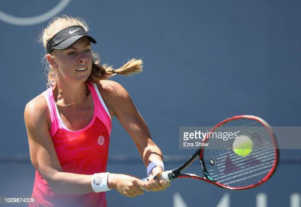 Magdalena Frech of Poland returns a shot to Ajla Tomljanovic of Australia during Day 4 of the Mubadala Silicon Valley Classic at Spartan Tennis...
