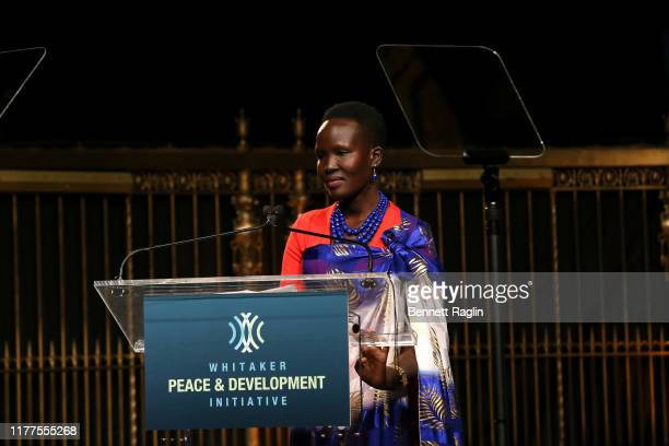 """Magdalena from South Sudan speaks onstage during the Whitaker Peace & Development Initiative """"Place for Peace"""" at Gotham Hall on September 27, 2019..."""