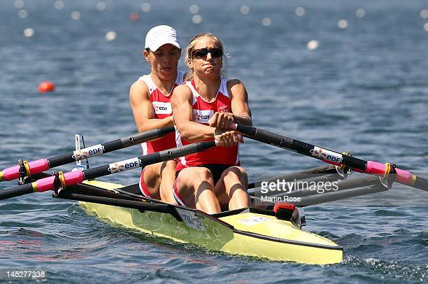 Magdalena Fularczyk and Julia Michalska of Poland row in the women's double sculls during Day 1 of the 2012 Samsung World Rowing Cup III on Lucerne...