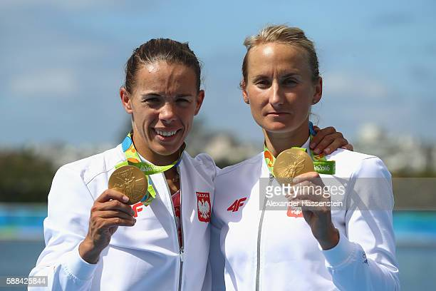 Magdalena FularczykKozlowska and Natalia Madaj of Poland celebrate with their gold medals after winning the Women's Double Sculls Final A on Day 6 of...
