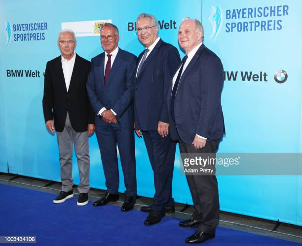 Magdalena Holzer Rosi Mittermaier and Joachim Herrmann Bayern Minister for the Interior pose for a picture during the 2017 Bavarian Sports Awards...