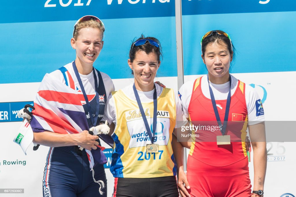 Magdalena Lobnig (AUT), Jingli Duan (CHN), Victoria Thornley (GBR) W1x during the final day of the 2017 World Rowing World Cup in Poznan, Poland, on 18 June 2017.