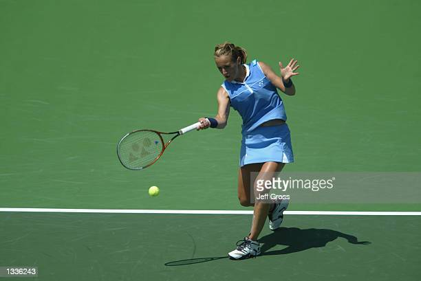 Magdalena Maleeva hits a shot against Rita Grande during the JPMorgan Chase Open on August 5 2002 at the Manhattan Country Club in Manhattan Beach...