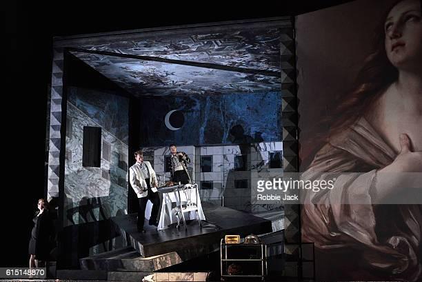 Magdalena Molendowska as Donna Elvira Duncan Rock as Don Giovanni and Brandon Cedel as Leporello in Wolfgang Amadeus Mozart's Don Giovanni directed...