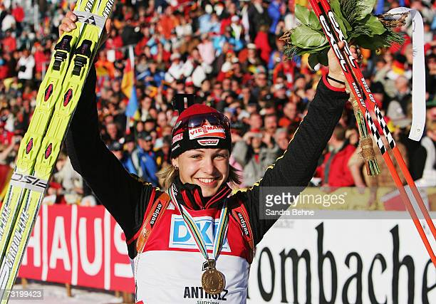 Magdalena Neuner of Germany celebrates her gold at the Women's 10 km Pursuit in the Biathlon World Championships on February 4 2007 in Anterselva...
