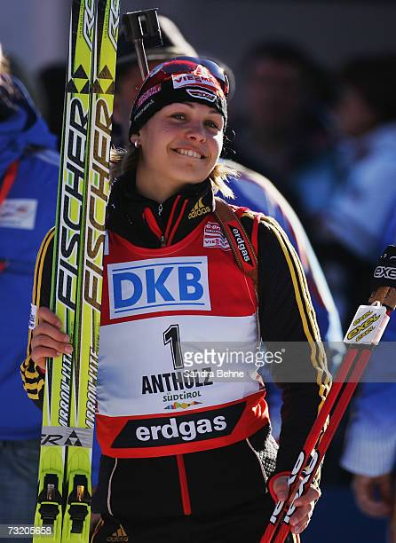 Magdalena Neuner of Germany celebrates winning the gold medal of the Women's 10 km Pursuit in the Biathlon World Championships on February 4 2007 in...