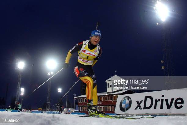 Magdalena Neuner of Germany competes at the women's 10 km pursuit race during the E.ON IBU World Cup Biathlon at the Ostersund Ski Stadium on...