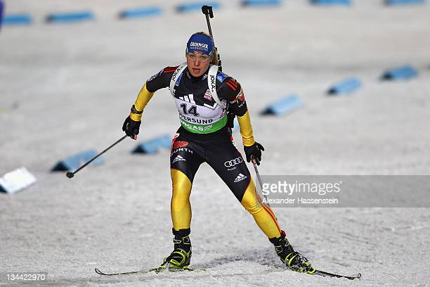 Magdalena Neuner of Germany competes at the women's 15km individual race during the E.ON IBU World Cup Biathlon at the Ostersund Ski Stadium on...