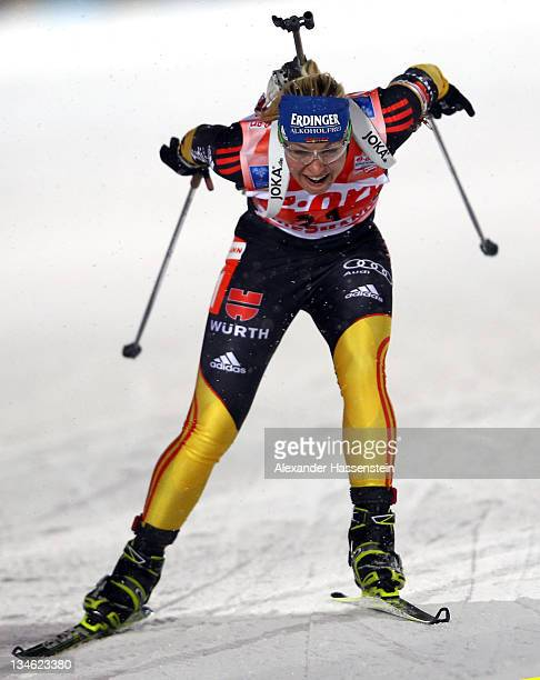 Magdalena Neuner of Germany competes at the women's 7,5 km sprint race during the E.ON IBU World Cup Biathlon at the Ostersund Ski Stadium on...