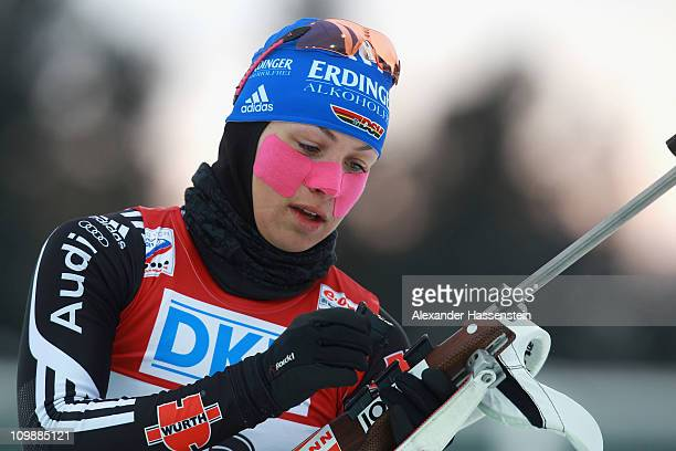 Magdalena Neuner of Germany competes at the zeoring prior the women's 15km individual race during the IBU Biathlon World Championships at A.V....