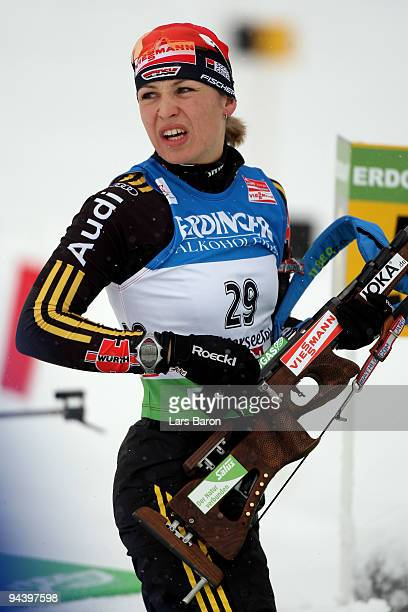 Magdalena Neuner of Germany competes during the Women's 10 km Pursuit in the IBU Biathlon World Cup on December 12, 2009 in Hochfilzen, Austria.