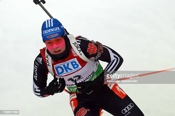 Magdalena Neuner of Germany competes during the women's 15km individual race during the IBU Biathlon World Championships at A.V. Philipenko winter...