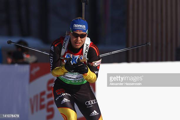Magdalena Neuner of Germany competes during the Women's 4 x 6km Relay during the IBU Biathlon World Championships at Chiemgau Arena on March 10, 2012...
