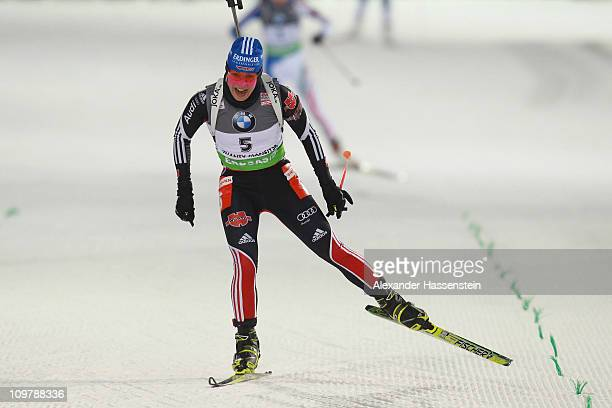 Magdalena Neuner of Germany competes in the women's 75km sprint during the IBU Biathlon World Championships at AV Philipenko winter sports centre on...
