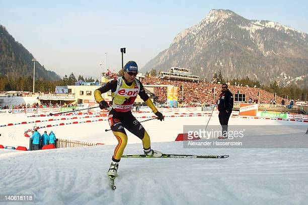 Magdalena Neuner of Germany competes in the women's 75km sprint during the IBU Biathlon World Championships at Chiemgau Arena on March 3 2012 in...