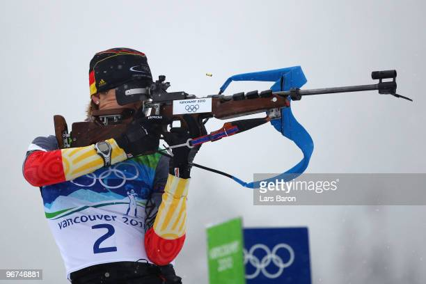 Magdalena Neuner of Germany competes in the women's biathlon 10 km pursuit - zeroing on day 5 of the 2010 Vancouver Winter Olympics at Whistler...