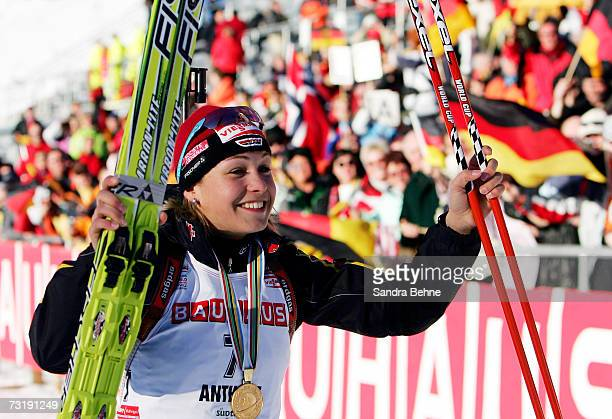Magdalena Neuner of Germany jubilates after winning the Women's 75 km sprint in the Biathlon World Championships on February 3 2007 in Anterselva...