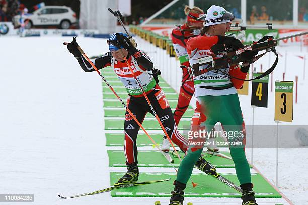 Magdalena Neuner of Germany leaves the shooting range after her last shooting at the women's relay during the IBU Biathlon World Championships at AV...
