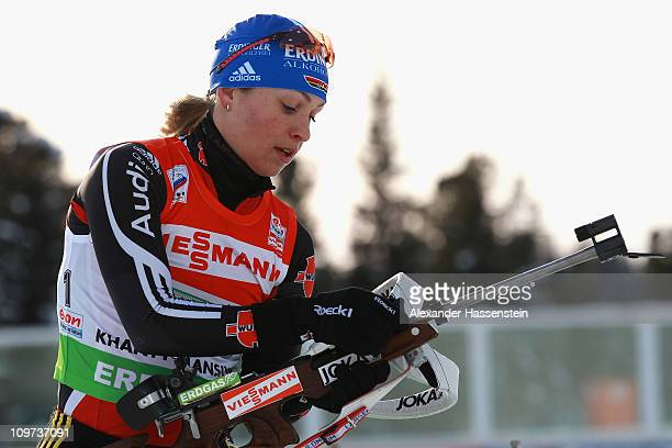Magdalena Neuner of Germany practice at the zeoring prior to mixed relay during the IBU Biathlon World Championships at AV Philipenko winter sports...