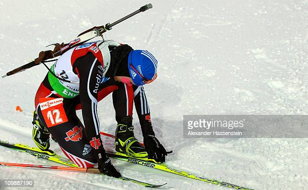 Magdalena Neuner of Germany reacts at the finish area after the women's 15km individual race during the IBU Biathlon World Championships at A.V....