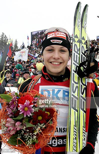 Magdalena Neuner of Germany takes 1st place during the IBU Biathlon World Cup Finals Women's Pursuit event on March 17 2007 in Khanty Mansiysk Russia